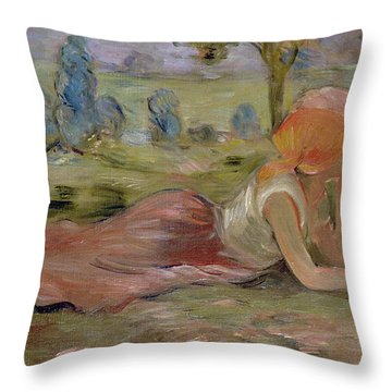 The Goatherd Throw Pillow by Berthe Morisot