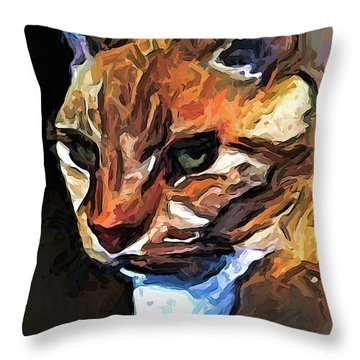 The Gold Cat With The Stage Presence Throw Pillow