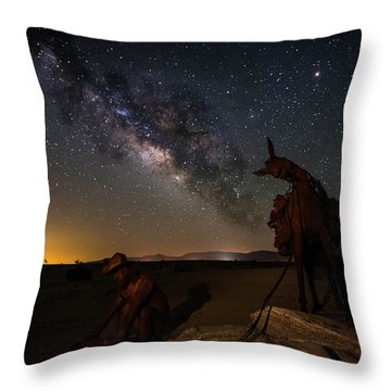 The Gold Miner Throw Pillow by Scott Cunningham