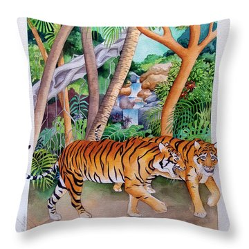 The Gold Of The Tigers Throw Pillow by Robert Lacy