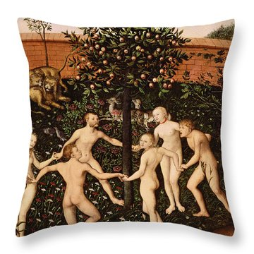 The Golden Age Throw Pillow by Lucas Cranach