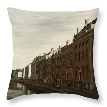 The Golden Bend In The Herengracht, Amsterdam, Seen From The West, 1672 Throw Pillow