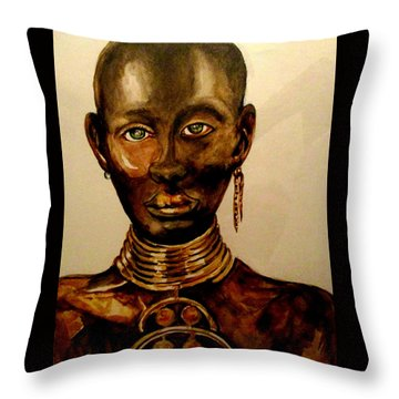 Throw Pillow featuring the painting The Golden Black by Yolanda Rodriguez