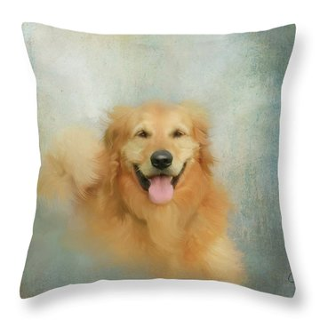Throw Pillow featuring the mixed media The Golden by Colleen Taylor