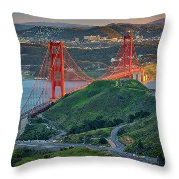 The Golden Gate At Sunset Throw Pillow