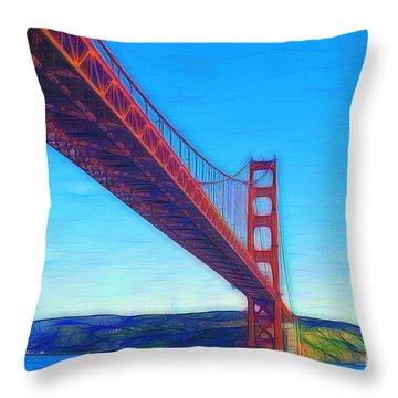 The Golden Gate Bridge Abstract Throw Pillow