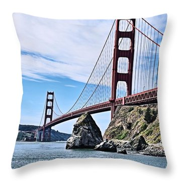 The Golden Gate In March Throw Pillow