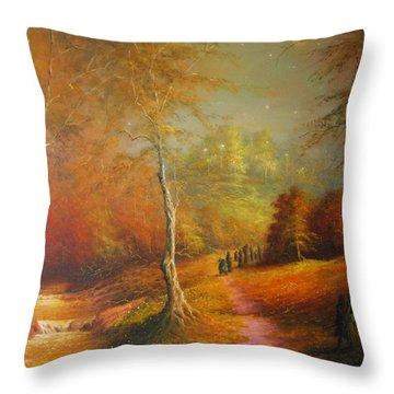 Golden Forest Of The Elves Throw Pillow