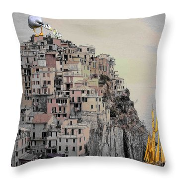 The Golden Sails Throw Pillow