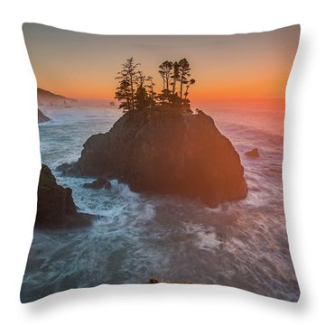 Throw Pillow featuring the photograph The Golden Sunset Of Oregon Coast by William Lee