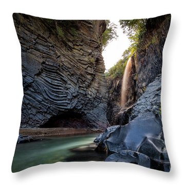 The Golden Waterfall Throw Pillow