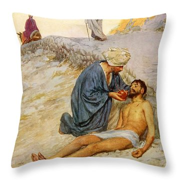 The Good Samaritan Throw Pillow by William Henry Margetson