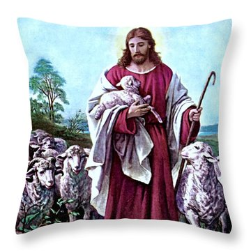 The Good Shepherd 1878 Bernhard Plockhorst Throw Pillow