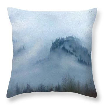The Gorge In The Fog Throw Pillow