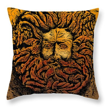 The Gorgon Man Celtic Snake Head Throw Pillow by Larry Butterworth