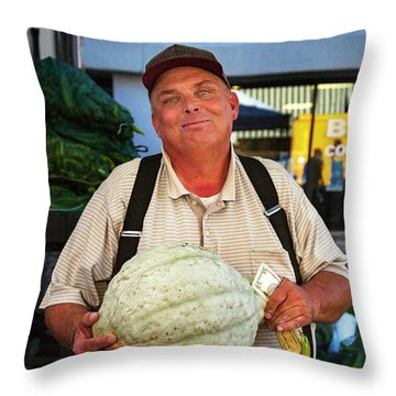 Throw Pillow featuring the photograph The Gourd Man by Craig J Satterlee