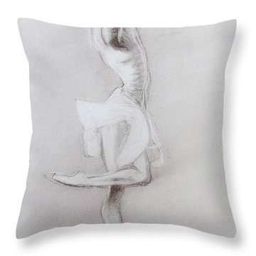 Throw Pillow featuring the drawing The Grace Of The Dance by Jarko Aka Lui Grande