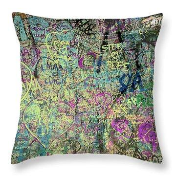 Throw Pillow featuring the photograph The Graffiti Wall - Verona, Italy by Merton Allen