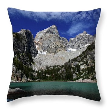 The Grand And Mount Owen From Delta Lake Throw Pillow by Raymond Salani III