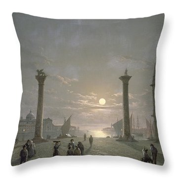 The Grand Canal From Piazza San Marco Throw Pillow by Henry Pether