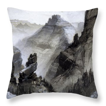 Throw Pillow featuring the drawing The Grand Canyon Drawing            by Thomas Moran