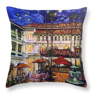 The Grand Dame's Courtyard Cafe  Throw Pillow