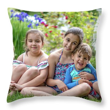The Grand Kids In The Garden Throw Pillow