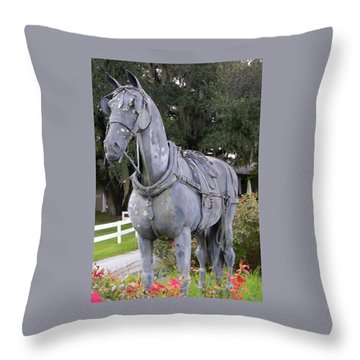 Horse At The Grand Oaks Resort Throw Pillow by Warren Thompson