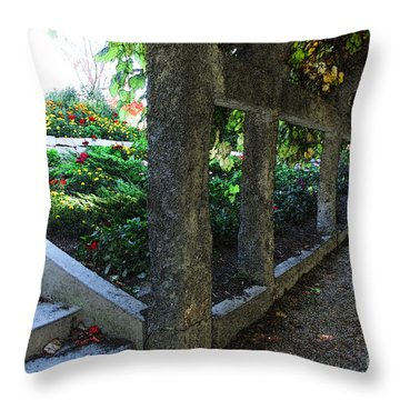The Grape Arbor Path Throw Pillow