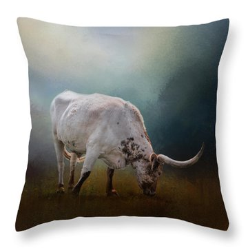 The Grazing Texas Longhorn Throw Pillow