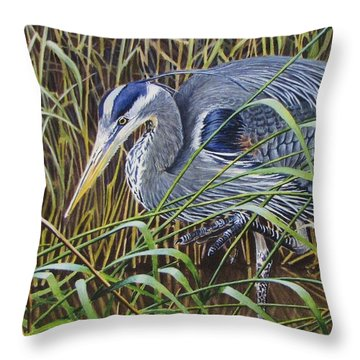 The Great Blue Heron Throw Pillow