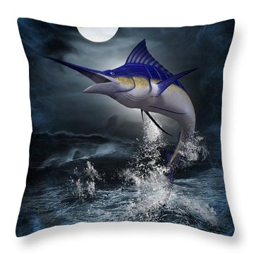 The Great Blue Marlin Throw Pillow