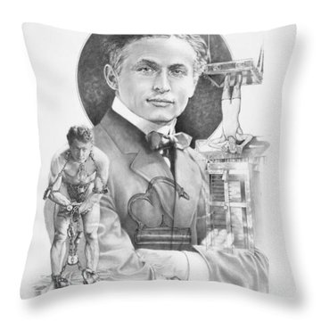 The Great Houdini Throw Pillow by Steven Paul Carlson