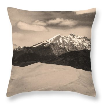 The Great Sand Dunes And Sangre De Cristo Mountains - Sepia Throw Pillow by James BO  Insogna