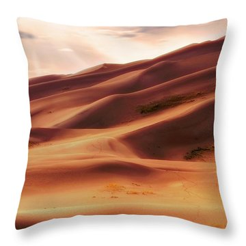 The Great Sand Dunes Of Colorado - Landscape - Sunset Throw Pillow by Jason Politte