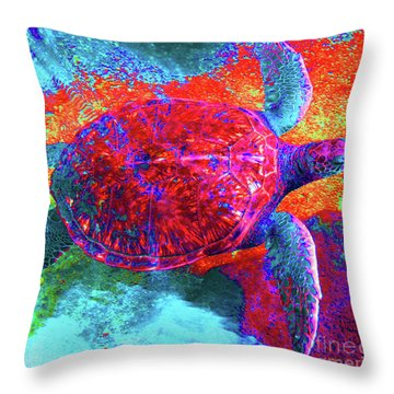 The Great Sea Turtle In Abstract Throw Pillow