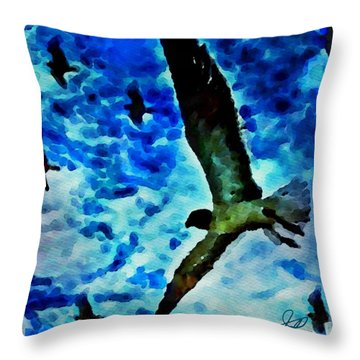 Throw Pillow featuring the painting The Great Seagull by Joan Reese