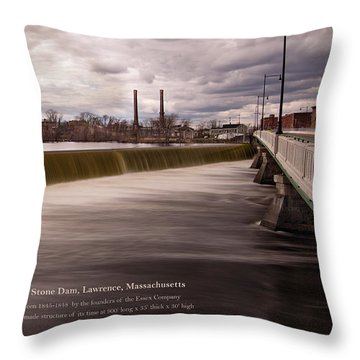 The Great Stone Dam Lawrence, Massachusetts Throw Pillow