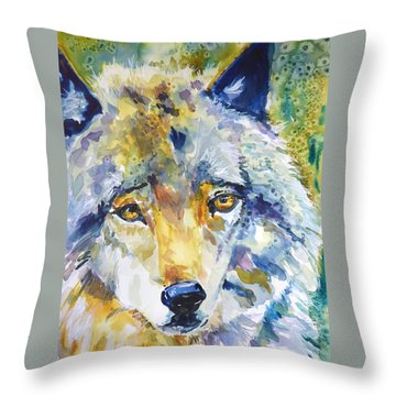 The Great Technicolor Wolf Throw Pillow