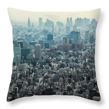 The Great Tokyo Throw Pillow by Peteris Vaivars