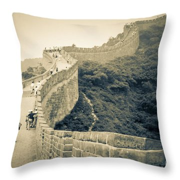Throw Pillow featuring the photograph The Great Wall Of China by Heiko Koehrer-Wagner