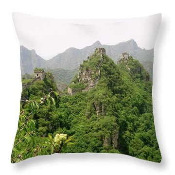 The Great Wall Of China Winding Over Mountains Throw Pillow