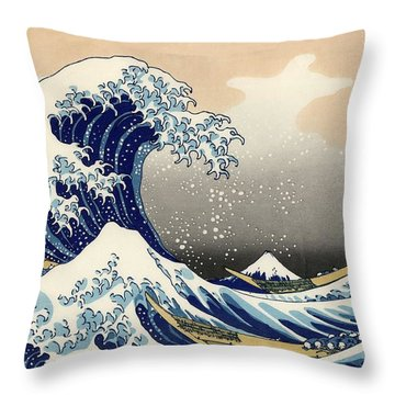 The Great Wave Off Kanagawa Throw Pillow by Katsushika Hokusai