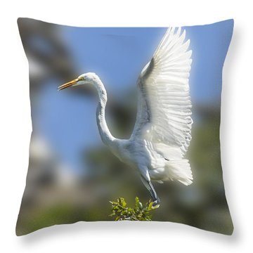 Throw Pillow featuring the photograph The Great White Egret by Paula Porterfield-Izzo