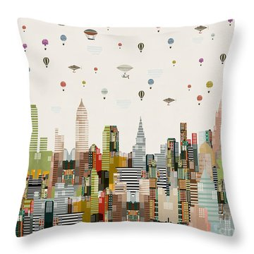 Throw Pillow featuring the painting The Great Wondrous Balloon Race by Bri B