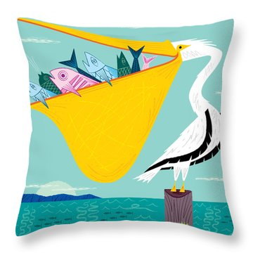 The Greedy Pelican Throw Pillow
