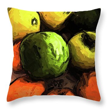The Green And Gold Apples With The Orange Mandarins Throw Pillow