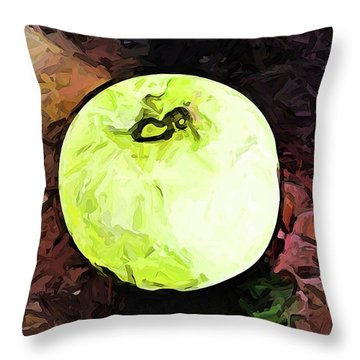 The Green Apple In The Bright Light Throw Pillow