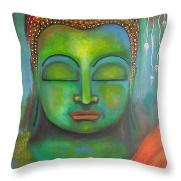 Throw Pillow featuring the painting The Green Buddha by Prerna Poojara