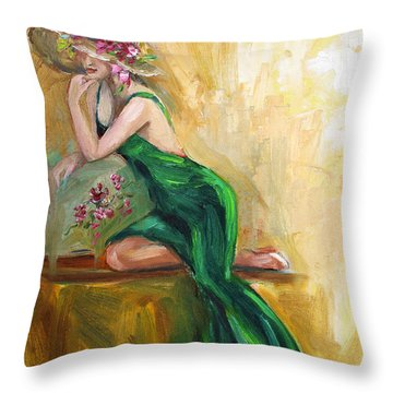 Throw Pillow featuring the painting The Green Charmeuse  by Jennifer Beaudet